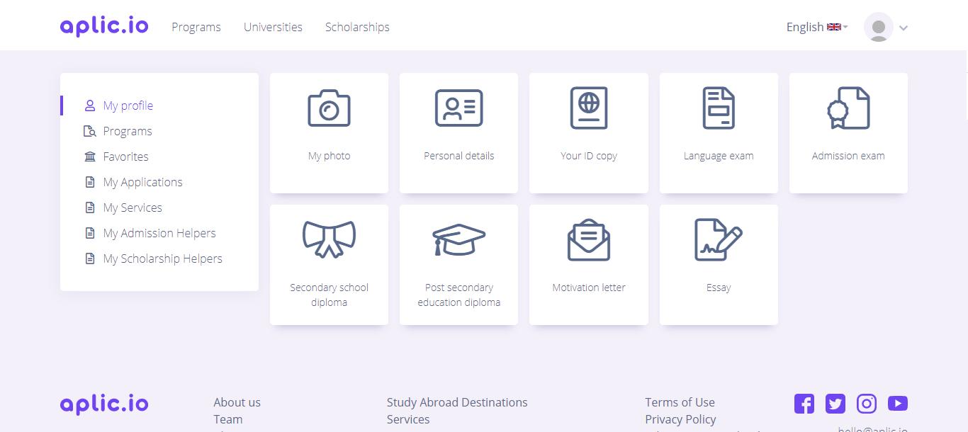 screenshot of Aplic profile