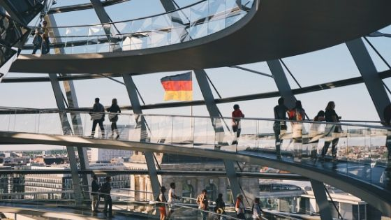Photograph from inside the Reichstag dome in Berlin