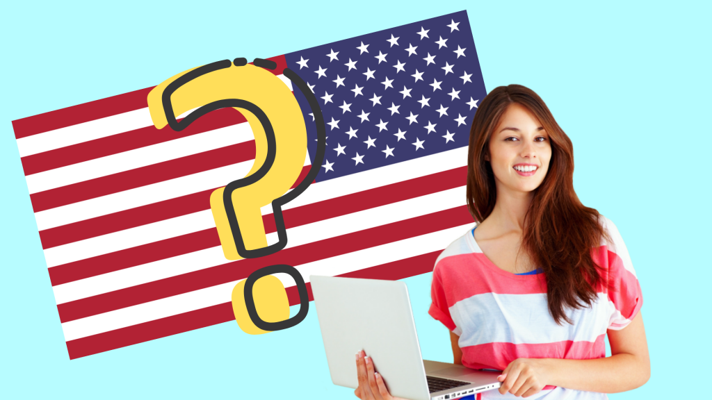Girl with laptop in front of American flag